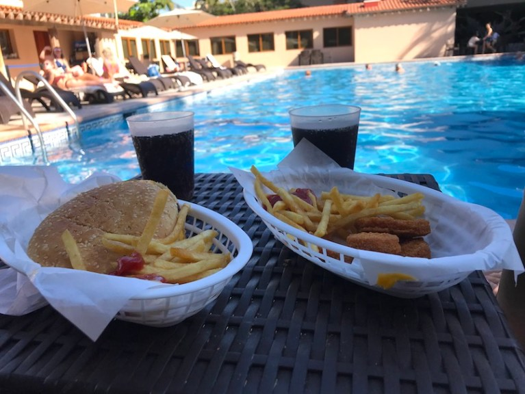 Burgers and fries beside the pool mazatlan