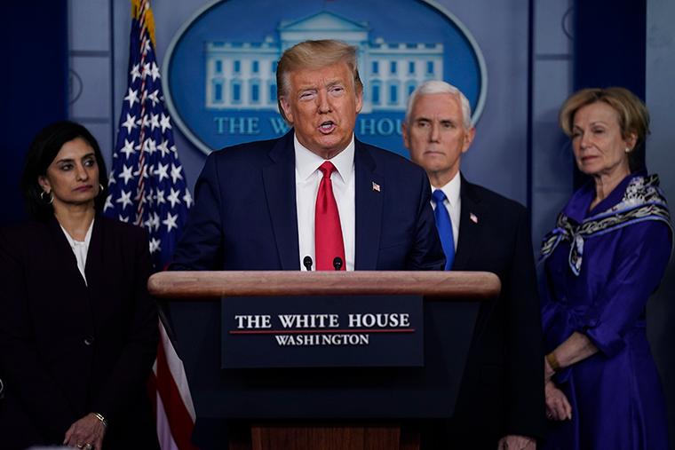 Trump gives speech
