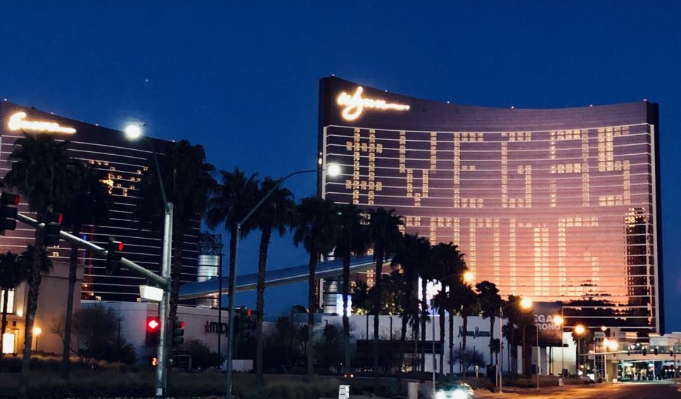 The Wynn casino displays the message Vegas Strong