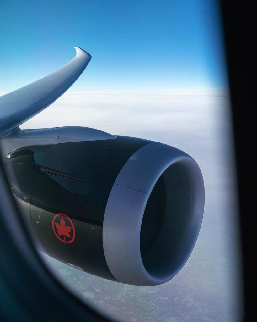 air canada engine in the air