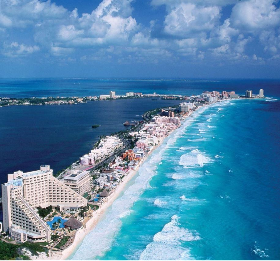 cancun strip of resorts on beach