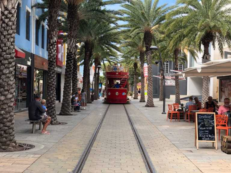 Aruba Train in tourist street