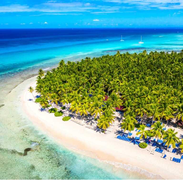 Drone view of beautiful beach on Saona island, Dominican Republic