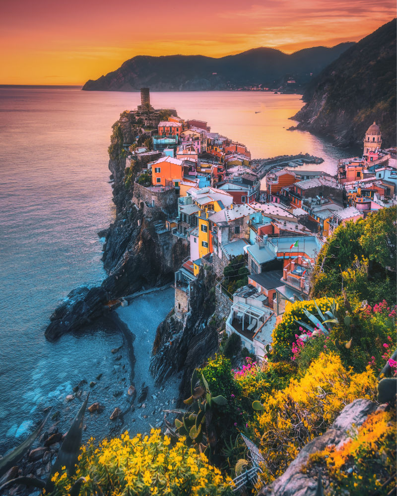 View of Vernazza at sunset in Cinque Terre, Italy