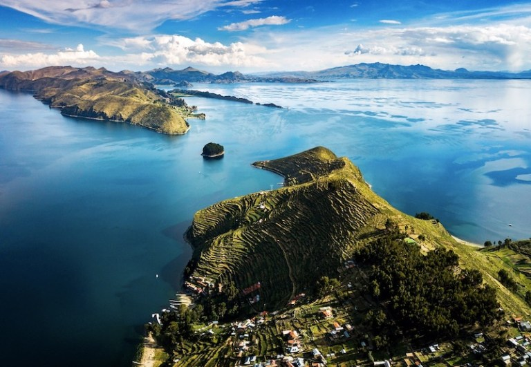 Island of the sun at lake Titicaca in Bolivia