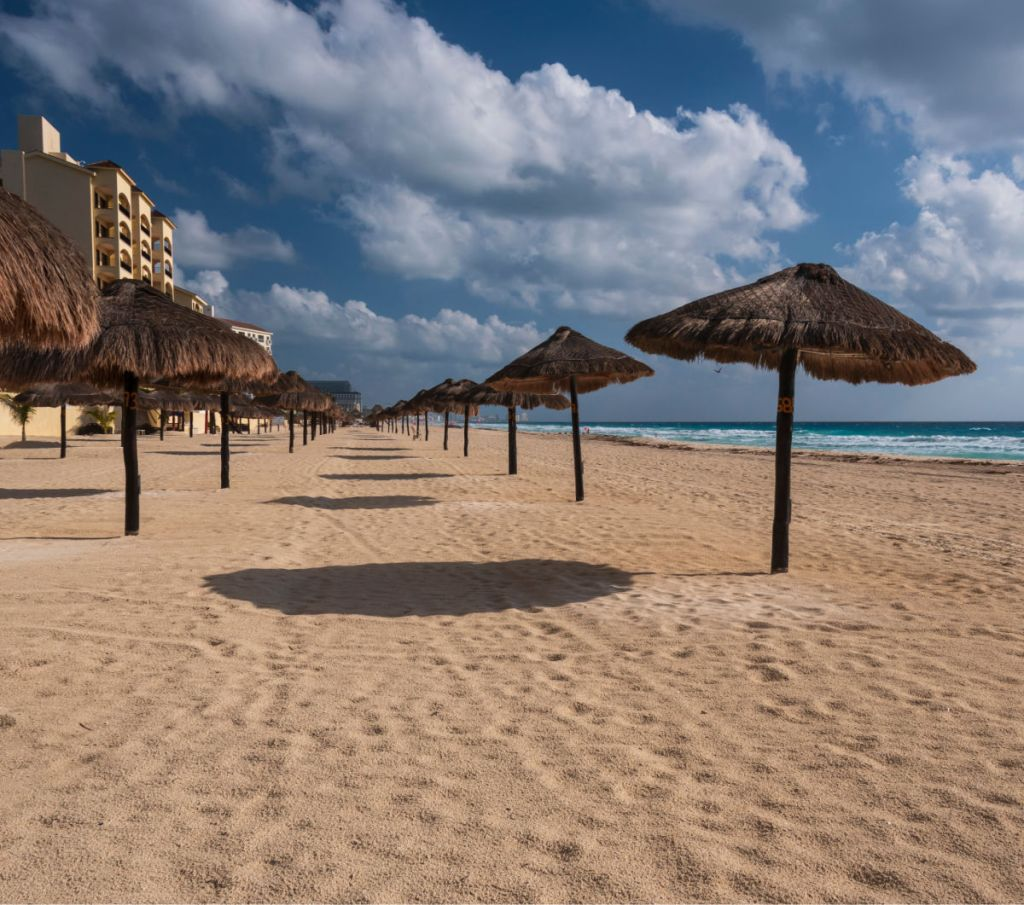 Empty Beach in Cancun back in April before reopening for tourism