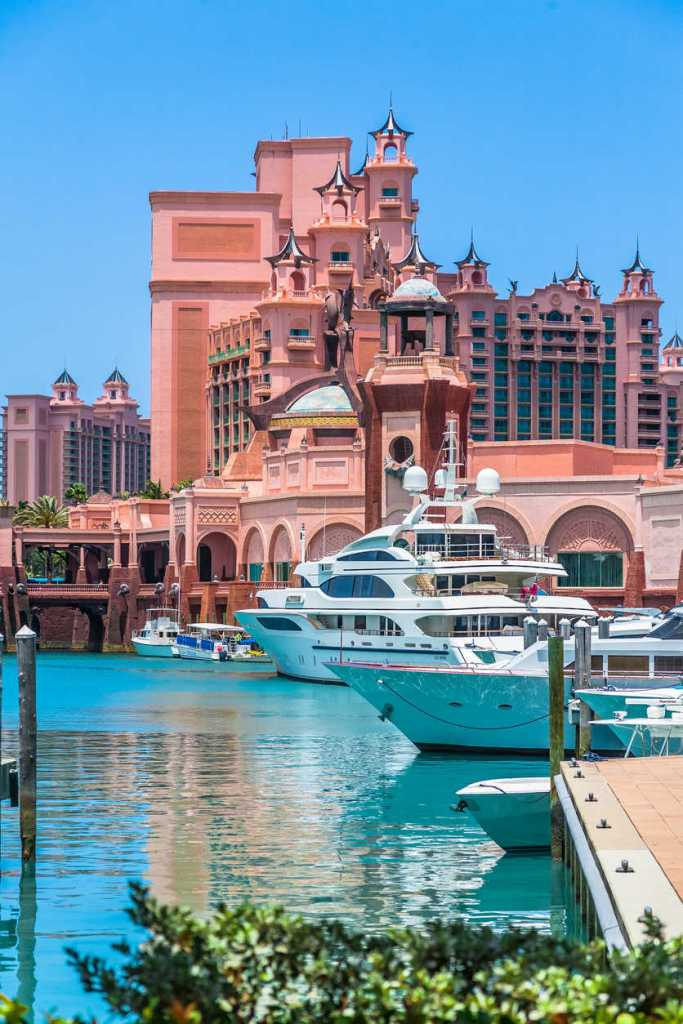 Yachts docked at Paradise lake, Atlantis Paradise Island Resort is seen in the background. (1)