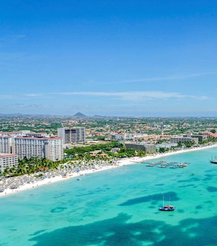 Aruba beach and resorts aerial view