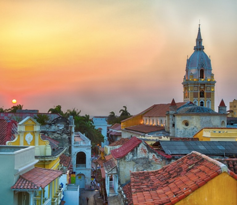 sunset in cartagena colombia