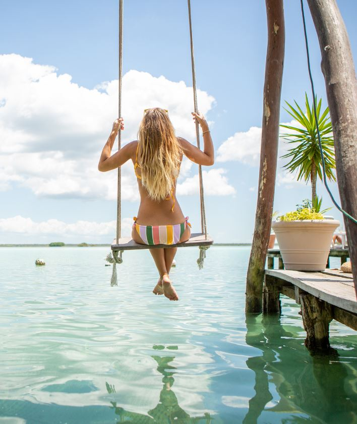 Swing over sea in cancun
