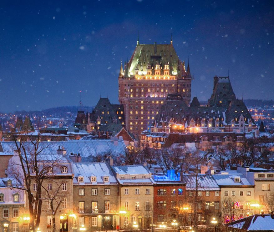 Quebec city skyline on a winter night