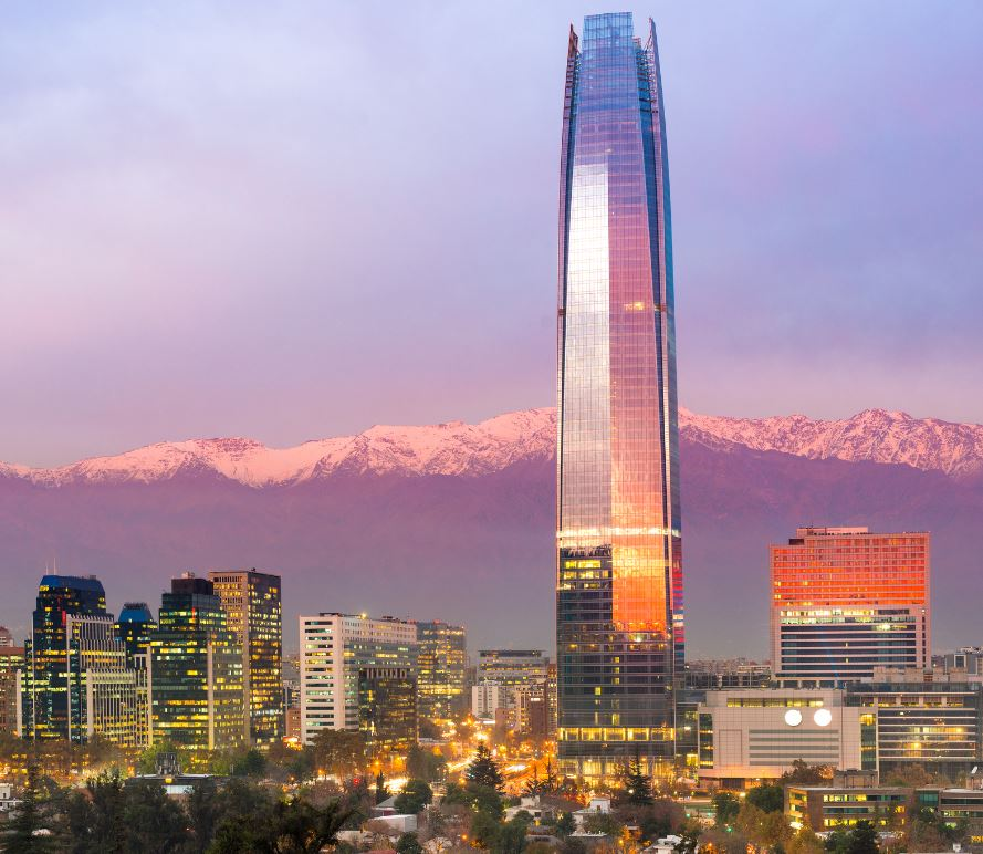 Santiago Chile at sunset