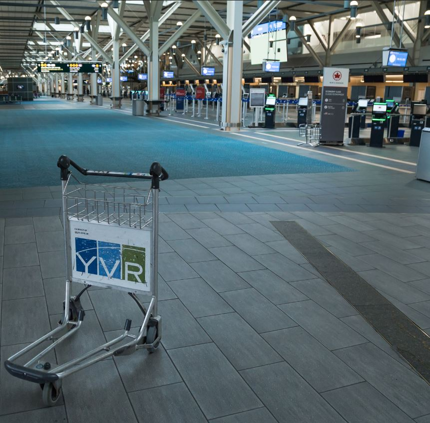 Vancouver airport empty during covid