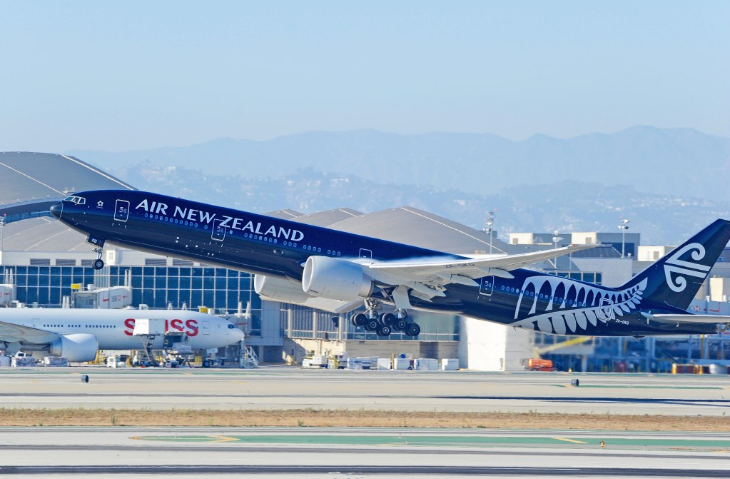 Air New Zealand Boeing 777 Commercial Airliner in Flight
