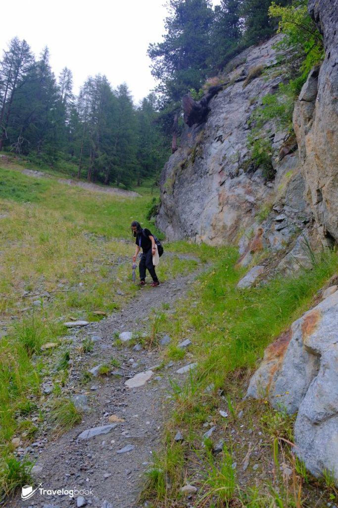 (7:32pm)再走一段,竟然連路也沒有了,要沿着猶如泥石流的斜坡小心翼翼地下山。