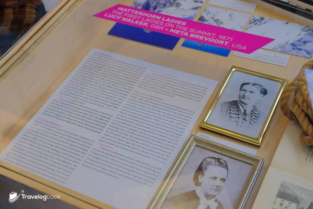 展覽以多國語文介紹這些女性的事迹,圖中右上為Lucy Walker,右下則是Meta Brevoort。