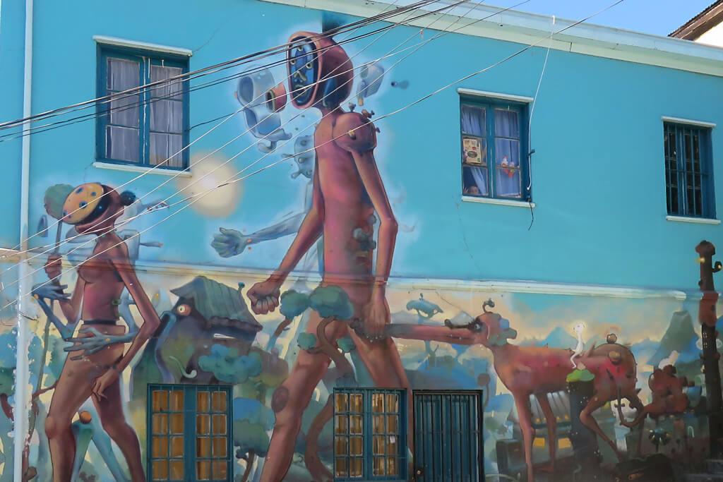 Grafitti Kunst in Polenco in Valparaiso