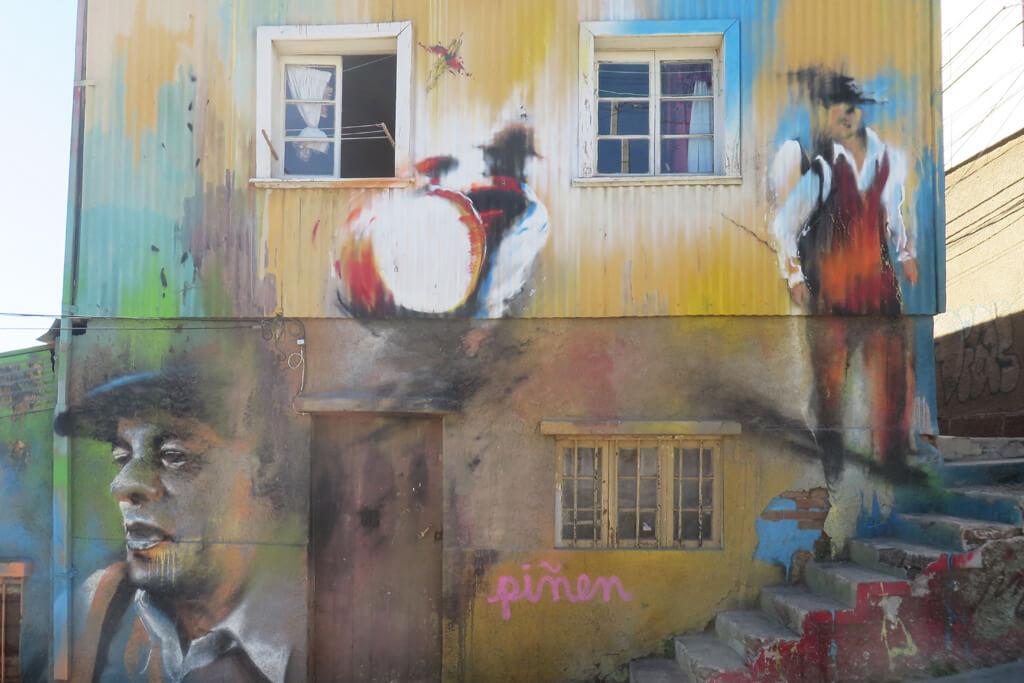 Bemalte Häuser in Valparaiso
