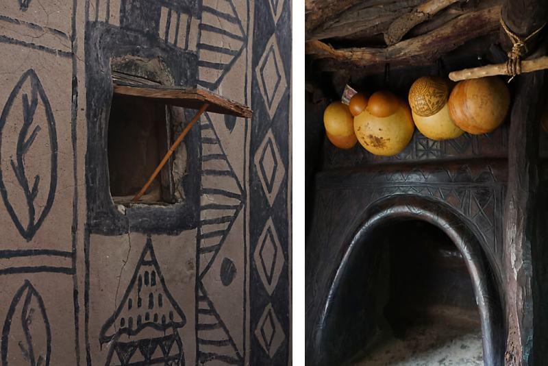 Fenster und Calebassen in den Häusern der Kasena in Tiebele in Burkina Faso