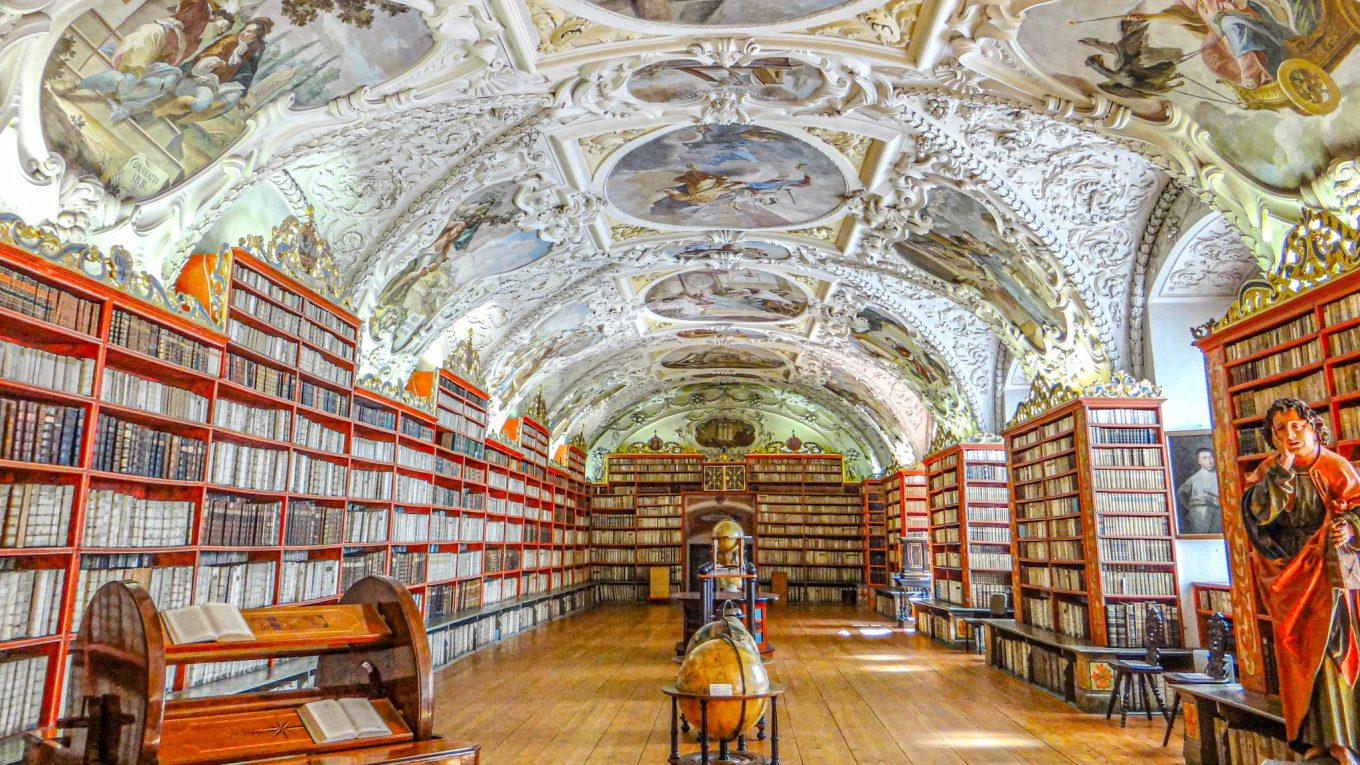 The Library of Strahov Monastery in Prague, Czech Republic - One of the world's most beautiful libraries!