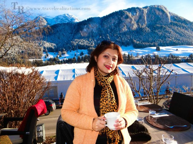 Myself enjoying coffee in Château-d'Oex, Switzerland, Travel Realizations, Château-d'Oex, Switzerland