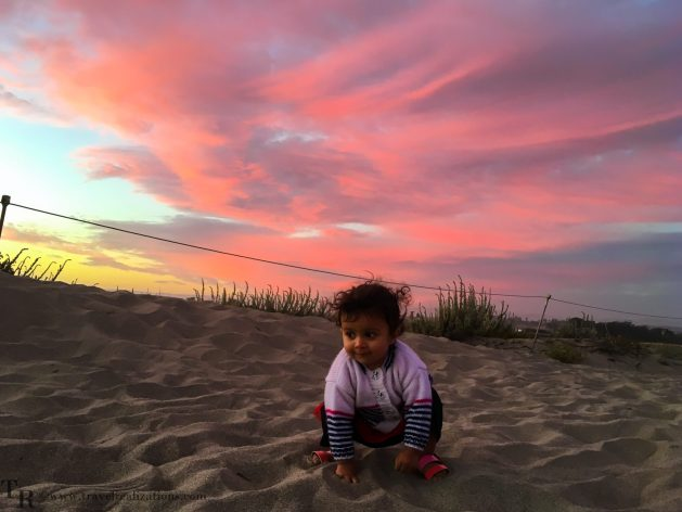 Travel Realizations, Moss Landing State Beach, California, Family Travel, A perfect family evening, baby, seashore, sunset