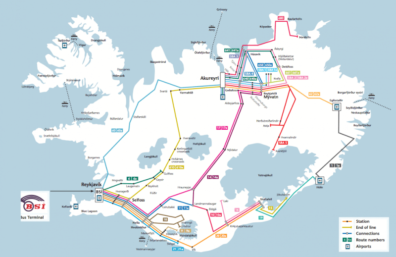 Map Driving Distances Iceland
