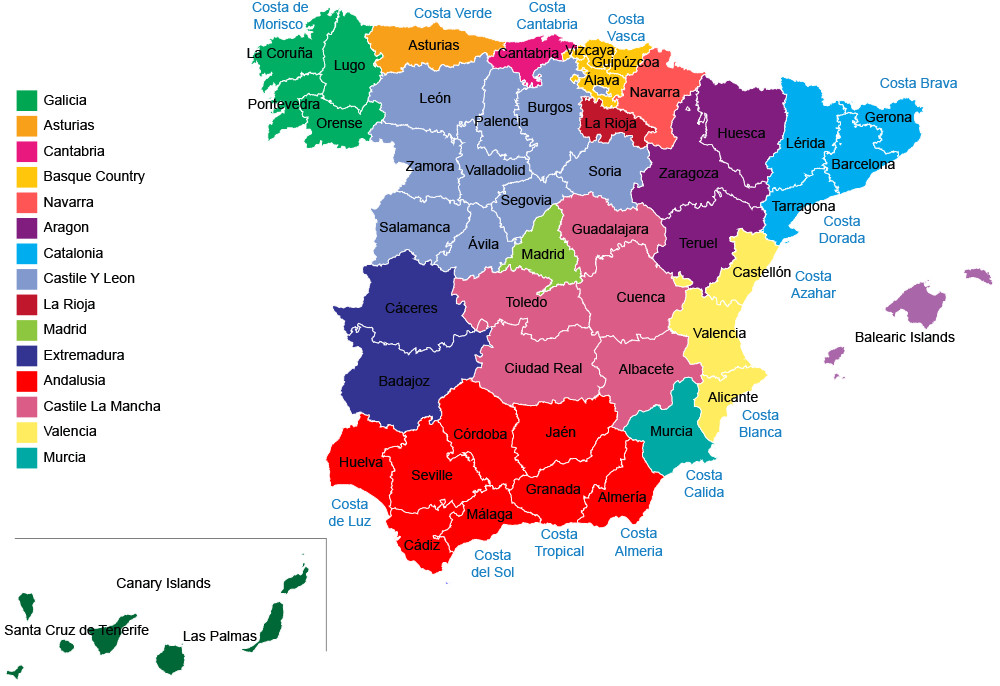 Map Of Spain Labeled.The 17 Wonderful Regions Of Spain Uncovered Travel Republic