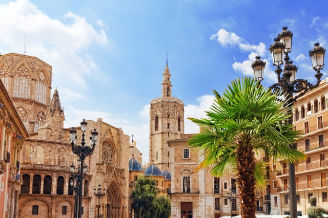 Square of Saint Mary's and Valencia cathedral temple in old town.Spain
