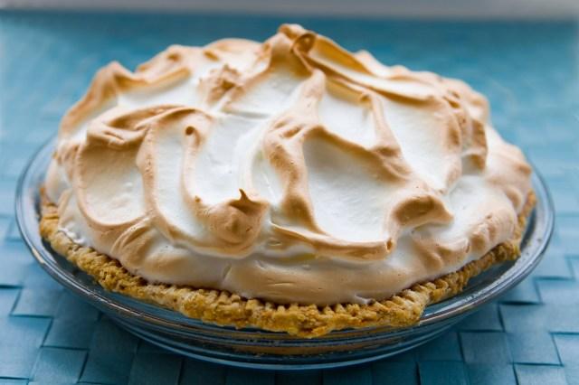 Key lime pie on a blue background.