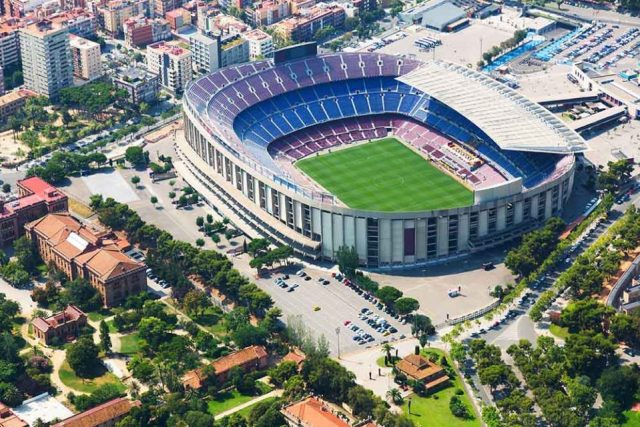 An aerial shot of FC Barcelona