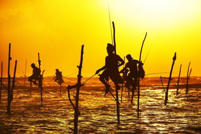 People fishing in Sri Lanka