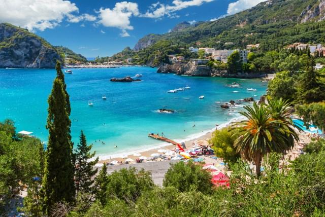 Beautiful Paleokastritsa beach on Corfu, Kerkyra, Greece