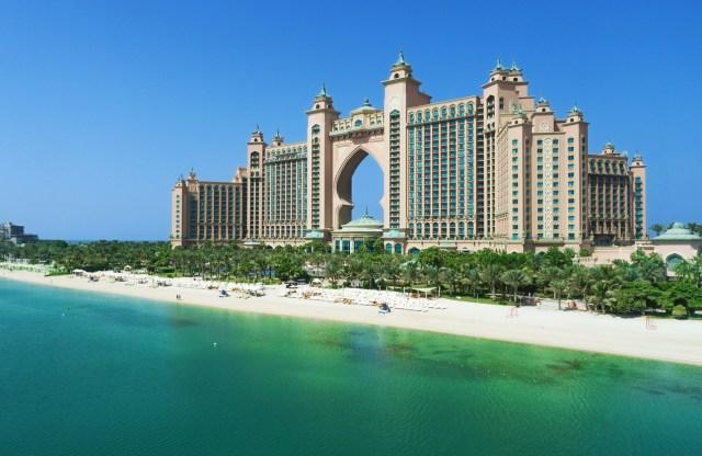 Dubai, United Arab Emirates - October 6, 2016: The Palm Jumeirah and Atlantis hotel in Dubai.