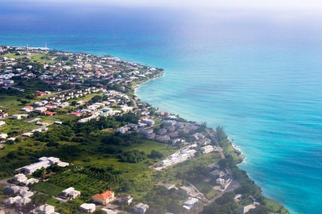 Aerial shot of Barbados