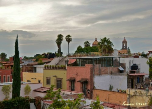 view from our roof, with the Templo De Monjas in the distance (Temple of Monks).