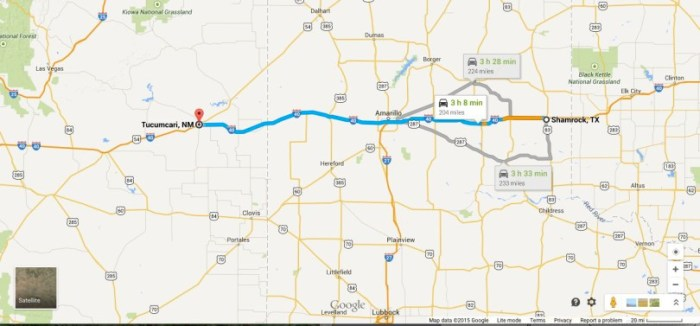 Map_Shamrock to Tucumcari