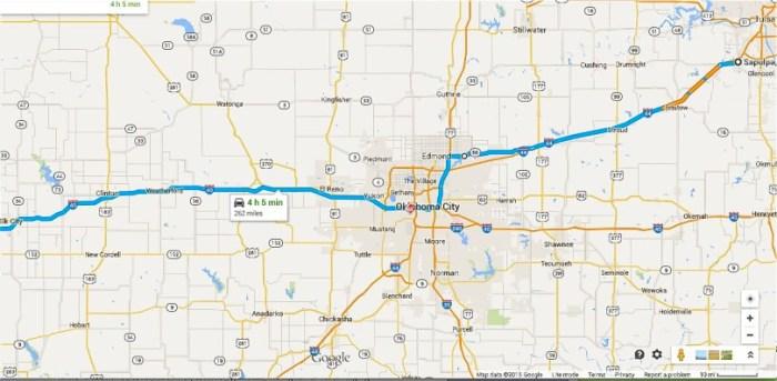 Sapulpa to Shamrock Map