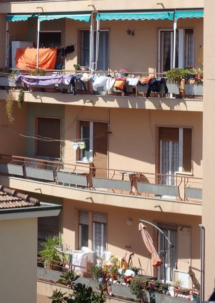 Drying clothes outdoors