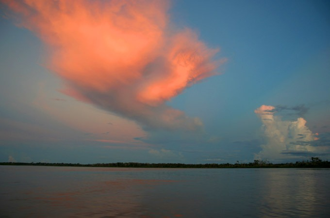sunset amazon peru