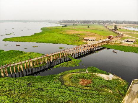 U Bein Bridge Drone
