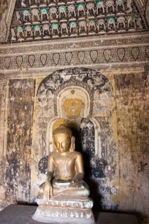 Wandmalerei in dem kleinen Tempel neben der Paya Thone Zu Pagode