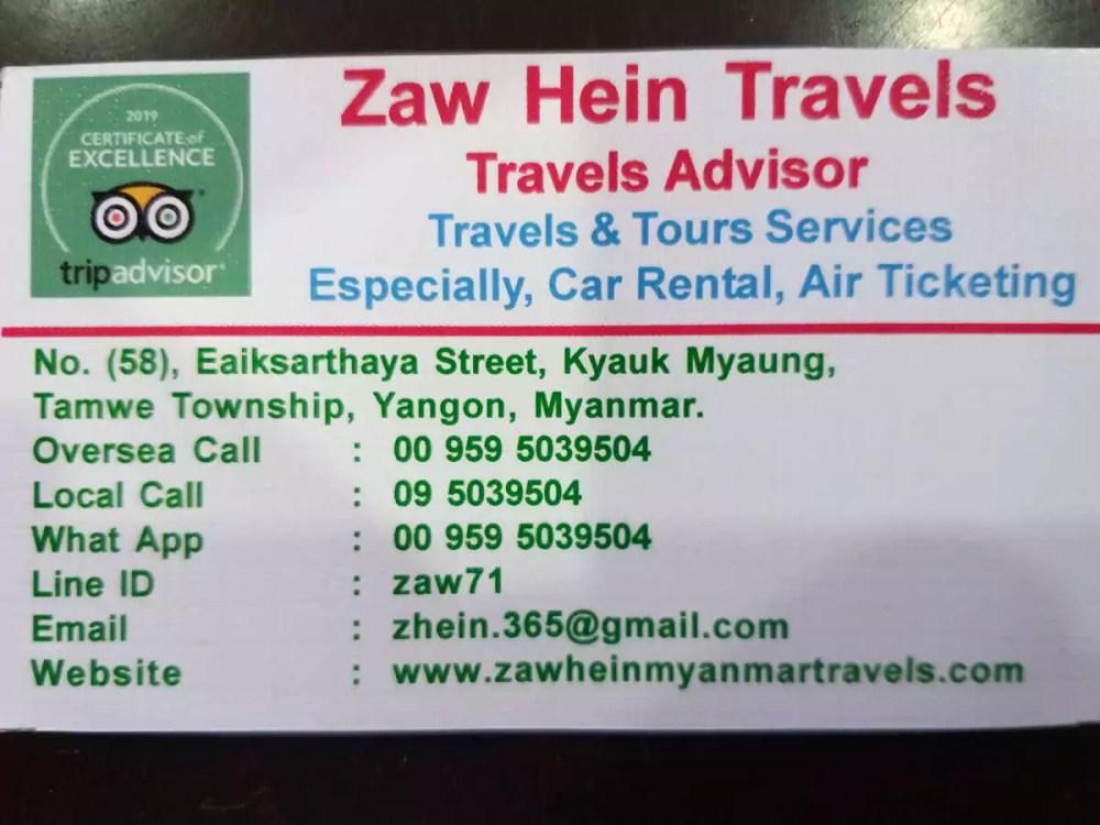 Zaw Hein Travels Yangon Visitenkarte