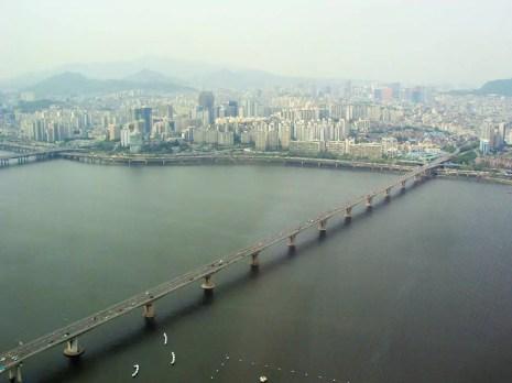 Aussicht auf den Han-Fluss von dem 63 Building in Seoul