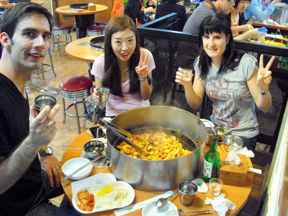 Dak-galbi in einem koreanischen Restaurant in Seoul