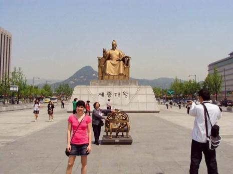 Statue König Sejong Gwanghwamun Platz Seoul