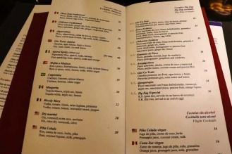 Cocktailkarte Zig Zag Restaurant