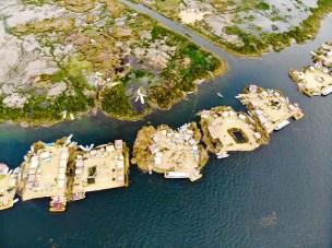 Uros Schwimmende Inseln Drohnenaufnahme