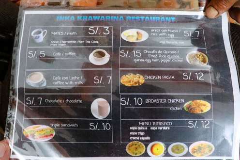 Frühstückskarte Hotel Inka Khawarina Tambo