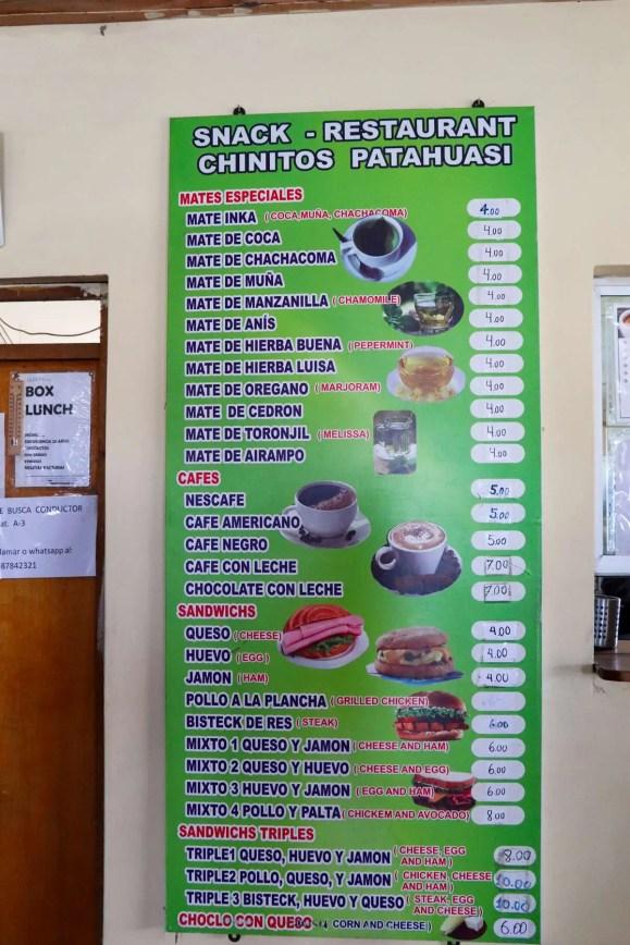 Speisekarte Chinitos Restaurant Patahuasi